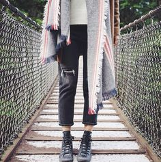 Suspension bridge walks in Coat 4042, Scarf C25 and Jean C13 #ootd (PS all of these are currently 20% off with the code ADDITIONAL20)