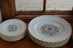 Limoges Lyric Pattern Dinner & Salad Plates - ca