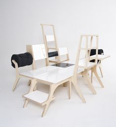 Each piece is an individual chair- together they can be combined to create different spaces. By Seung Yong Song