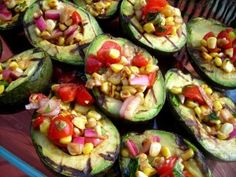 grilled avocados with corn salsa.