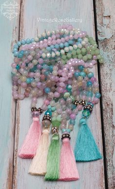 Items similar to Silk Tassel Turquoise Necklace, Gemstones Necklace, Pastel Colourful Boho Chic NecklaceGift for her by VintageRoseGallery on Etsy Turquoise Gemstone, Turquoise Jewelry, Boho Jewelry, Etsy Jewelry, Jewelry Ideas, Jewlery, Fine Jewelry, Gemstone Necklace, Tassel Necklace