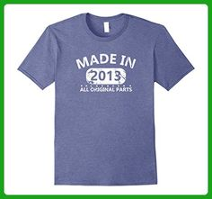 Mens 4th Birthday Made 2013 Vintage Funny T-shirt Gift Quote Tee Small Heather Blue - Birthday shirts (*Amazon Partner-Link)