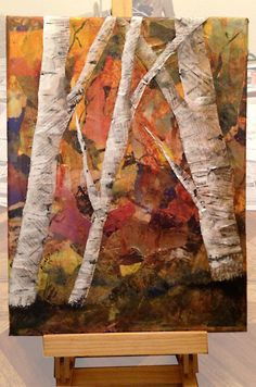 Fall Birch Trees Torn Paper Collage by SouthPrairieHandmade Tree Collage, Paper Collage Art, Paper Art, Magazine Collage, Magazine Art, Birch Tree Art, Diy Artwork, Art N Craft, Autumn Art