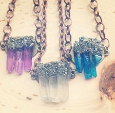 Quartz Crystal Necklace with Pyrite healing by EmelyRoseBoutique
