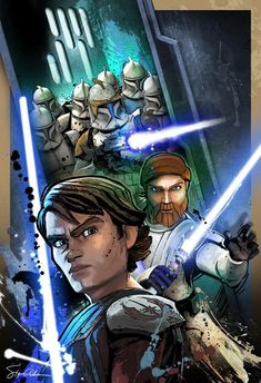 Anakin and Obi with Clones by ~SteveAndersonDesign