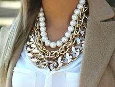 How to wear statement necklaces http://www.justtrendygirls.com/how-to-wear-statement-necklaces/
