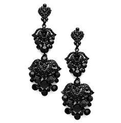 Exquisite Sparking 3 1 Long Black Crystal Earrings Elegant Wedding Formal Prom Jewelry