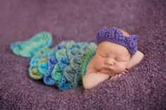 Mermaid Cape Set Newborn Baby Crochet by PerfectlySweetProps, $35.00
