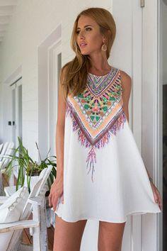 Gender: Women Waistline: Natural Fabric Type: Chiffon Dresses Length: Above Knee, Mini Season: Summer Silhouette: A-Line Neckline: O-Neck Sleeve Length: Sleeveless Pattern Type: Print Sleeve Style: Ta