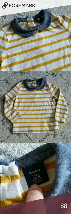 GAP Striped Top Adorable Peter Pan collar, striped shirt. BabyGap continues to makes this style top, so you know it's a good one.  Chambray color, with mustard yellow stripes on an oatmeal heather. Two buttons on the back. GAP Shirts & Tops Blouses