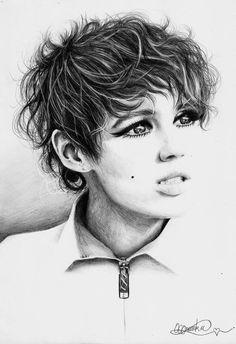 Art Print of Edie Sedgwick Pencil Drawing Pencil Sketch Drawing, Etch A Sketch, Pencil Art, Pencil Drawings, Art Drawings, Drawing Designs, Charcoal Drawings, Graphite Art, Artist Pencils