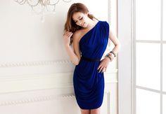 Vogue Women's Elegance One Shoulder Nip Waisted Dress with Belt Blue