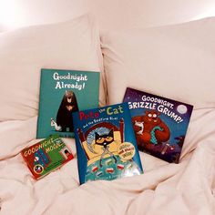 In honor of #WorldReadAloudDay, here are some of our favorite bedtime read-alouds! All goodnight themed, of course! What are some of your favorites?  #reading #WRAD16 #readaloud #bedtime #goodnight #goodnightmoon #petethecat #grizzlegrump #goodnightalready #childrensbooks #kidsbooks #kidlit #picturebook