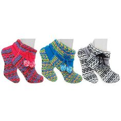 3 Pairs: Knit Slipper Booties with Grip Soles at 71% Savings off Retail!
