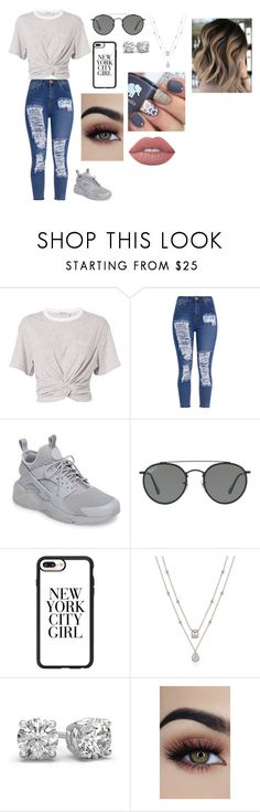 """""""Grey Day"""" by kayla-owen ❤ liked on Polyvore featuring T By Alexander Wang, NIKE, Ray-Ban, Casetify and Lime Crime"""