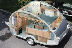 CAMPING FUN - STRANGE TEARDROP CAMPERS - CUTAWAY DIAGRAM