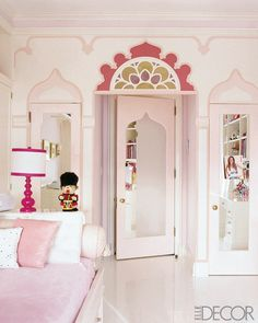 pink and white girls room. -painted accents, mirrored doors.(Too exotic for me- would work if you were a Middle Eastern princess.)