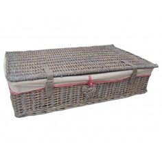 Grey Wash Wicker Underbed Storage Baskets with Willow Heart Feature