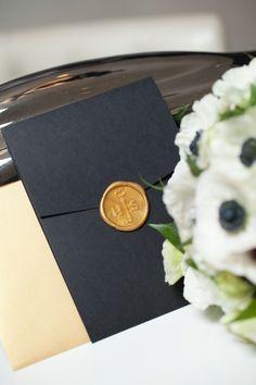 Art Deco Pocket Wedding Invitations: Heidi and Shawn | Gold Wax Seal Monogram | http://www.paperandhome.com/art-deco-wedding-invitations-heidi-and-shawn/