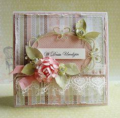 card vintage flowers leaves - memorybox tiffany frame  Dorota_mk: Urodzinowe....