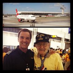 Last Friday, VX78 arrived to IAD with some special WWII Veterans onboard. A hero's salute greeted the plane, and Capt. Jim greets one of the Veterans.