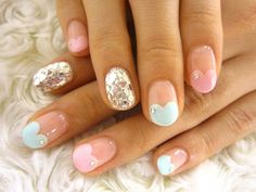 Heart French Nails. Cute!
