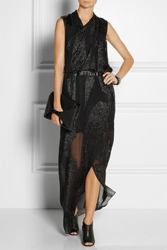 HELMUT LANG Eros leather-trimmed fil coupé gown $1,195