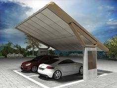 "DCUBE - ECOPARK ""GALLILEO"" A concept of solar shelters where electric cars can be parked and their batteries recharged during the day. After work, their owners can leave with fully charged batteries thanks to the solar panels on the roof of the shelter."