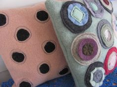 Circles and Dots 3   Recycled Felted Wool by TheLavendarTree, $30.00