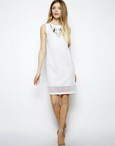 White Dress With Embellished Necklace on sale $50.81 ASOS