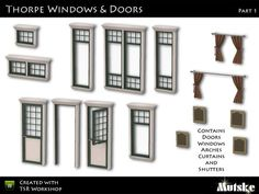 """""""Thorpe Windows and Doors Part 1"""" by Mutske. Subscriber only. Set includes 9 windows, 3 doors, and 2 sets each of shutters and curtains.  Recolorable."""