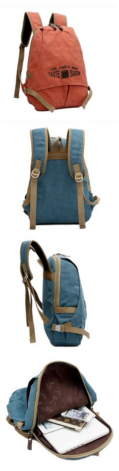 6b07a8dcfd Women s Men s Vintage Canvas Backpack Laptop School Bag College Travel  Hiking Bag