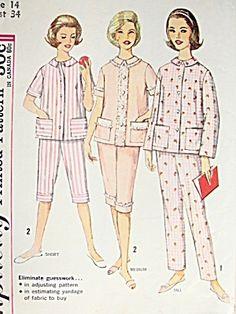 50s Simplicity 4006 Vintage Pajamas Pattern