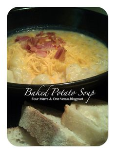 Lick Bowl Worthy- Baked Potato Soup! (It's no lie, this soup is amazing! the only thing I didn't add was the hot pepper sauce.)