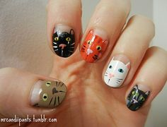 Animal Nail Art Designs 2018 Have you anytime anticipation of painting baby animals on your nails? Cat Nail Art, Animal Nail Art, Cat Nails, Cat Nail Designs, Nailart, Cat Face, Favim, Beauty Nails, Pretty Nails