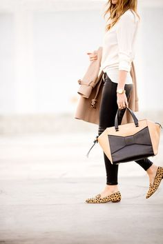 Sexy cheetah flats with white top , black tights , brown trenchcoat and black and beige handbag via imgfave.com