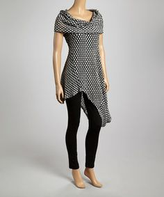 Look at this #zulilyfind! Black & Charcoal Asymmetrical Tunic - Women & Plus by Come N See #zulilyfinds