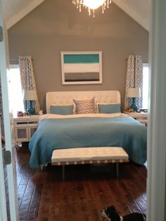 Turquoise blue and grey bedroom with diy canvas painting (still need throw pillows!)