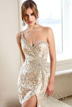 Dresses by Terani -Cream & Nude Single Shoulder Illuminating Lace Dress - 0-16