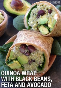 Ingredients:  •  1 cup dry quinoa •  2 cups filtered water •  15-oz can black beans •  1 ripe avocado •  6-8 spinach leaves •  monterey jack cheese •  feta cheese •  large (9-inch) multi-grain or spinach tortilla
