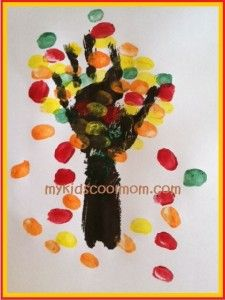 Cute handprint and thumbprint Fall tree craft. Tutorial with pictures also includes ideas for teachable moments.
