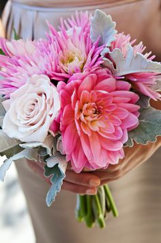 I love this bouquet. What are those whitish leaves??? Anyone know? And the spiky-ish flower?