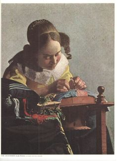 Old 1960's The Lace-Maker Print by Jan Vermeer