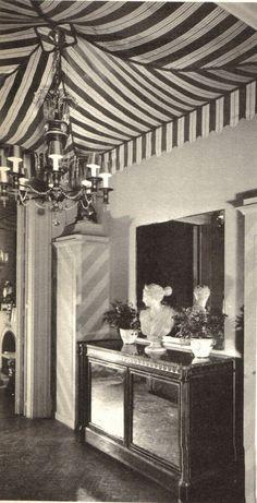 Love this ceiling treatment, interior design by William Pahlmann