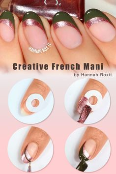 Creative French Mani ❤️ Here are some awesome but simple nail designs you can easily do at home! Love fancy nail art but do not have the artistic touch or a steady hand? Fancy Nail Art, Fancy Nails, Nail Art Diy, Diy Nails, Cute Nails, Nail Tip Designs, French Nail Designs, Simple Nail Designs, Nail Lacquer