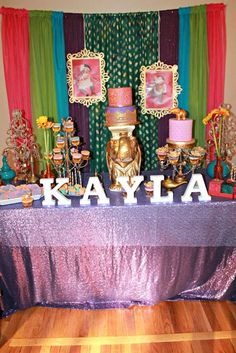 Dessert table at a Bollywood birthday party! See more party ideas at CatchMyParty.com!
