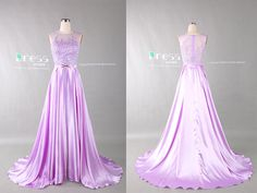 Lavender Beading Lace Appliques Long Prom Dress/See by DressHome