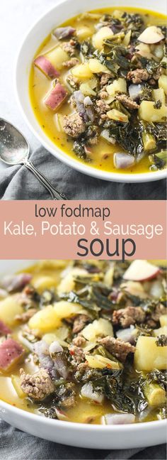 This Low Fodmap Kale, Potato & Sausage Soup recipe is sure to warm you up this winter! it's gluten free, dairy free and oh-so-comforting! The post Low FODMAP Kale, Potato, and Sausage Soup appeared first on Woman Casual - Food and drink Lunch Recipes, Soup Recipes, Diet Recipes, Cooking Recipes, Healthy Recipes, Healthy Soups, Recipes Dinner, Paleo Dinner, Chili Recipes