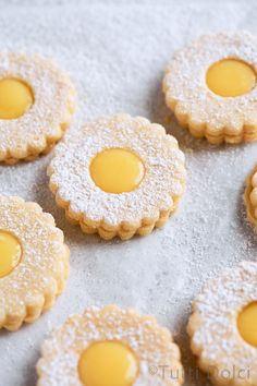 Citrus curd linzer cookies are a sweet taste of spring! Brown butter sandwich cookies are filled with triple citrus curd and dusted with powdered sugar. Brownie Cookies, Chocolate Chip Cookies, Linzer Cookies, Cut Out Cookies, Cookie Bars, Heart Cookies, Baking Recipes, Cookie Recipes, Dessert Recipes