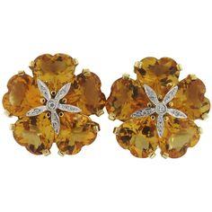 Large Retro Citrine Diamond Gold Flower Earrings